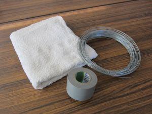 タオル、針金、ビニールテープの画像